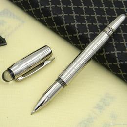 Gel ink pen refill online shopping - Luxury Silver Checker HOT Rollerball Pen M Crytal Top Metal Roller ball Pens free pen refills