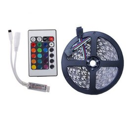 remote control rgb led strips UK - free shipping 3528 RGB SMD 60 LED M LED Strip Light + 24key MINI Remote Control