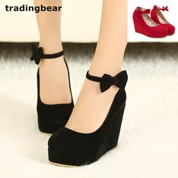 red wedges shoes NZ - black bowtie plarform wedges womens red ankle strap high heel wedding shoes 2 colors size 35 to 39