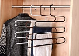 clothes hangers shapes NZ - Multifunction Clothes Hanger S Shape 5 Layers Stainless Steel 3 Colors Towel Clothes Pants Holder Rack Hangers