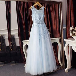 Barato Vestido Longo De Lantejoulas-2018 Baby Blue Prom Dress Long Vestidos formidáveis ​​da festa de noite Sheer Scoop Neck Sleeveless Beades Sequins Pérolas Lace Appliques Comprimento do chão