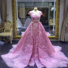Robe De Bal Applique En Tulle En Dentelle Pas Cher-Luxe Mermaid Prom Robes Rose Détachable Train Lace Appliqued Robes de soirée formelles Elegant Prom Party Dress