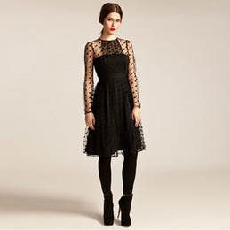 $enCountryForm.capitalKeyWord Canada - Polka Dot Fashion Sexy Round Neck Long Sleeve Good Quality Black Mesh Sexy Sheer Dress W850449