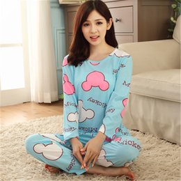 Discount pajamas for girls Wholesale- New hot 2016 Spring Autumn Womens Pajama Sets O-Neck Long Sleeve Women Sleepwear Pajamas girls nightgown for woman free shipping