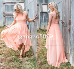 evening dresses peach chiffon 2019 - 2019 Modern Peach Lace Bridesmaid Dresses for Country Wedding A-Line High Neck Hi-Lo Chiffon Bohemian Beach Party Evenin