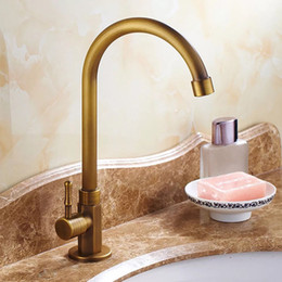 Vintage Brass Kitchen Faucet Bathroom Bronze Faucets Deck Mounted Rotatable  Ceramic Valve Single Handle 1 Hole Antique Brass Taps