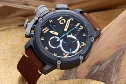 China Luxury Brands Swiss Black Stainless 50mm Quartz Chronograph Casual Brown Genuine Leather Belt Mens Antique Wristwatch For Men Dress Watches supplier mens swiss chronograph luxury watches suppliers