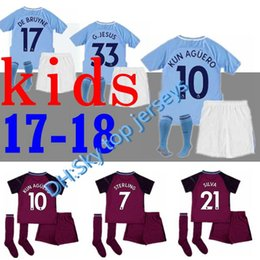 f269d4bdd46 ... MCFC Kit K215 17 18 kids Man City home soccer Jersey Kits KUN AGUERO  STERLING Walker DE BRUYNE GUNDOGAN ...