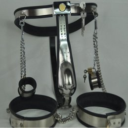 cock restraint devices UK - M129 new bondage male stainless steel lockable & adjustable chastity devices with penis ring cock cage & ankle restraint , sex toys for men