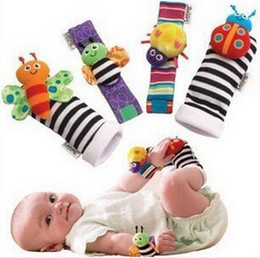 baby rattle toys lamaze UK - 2017 New arrival sozzy Wrist rattle & foot finder Baby toys Baby Rattle Socks Lamaze Plush Wrist Rattle+Foot baby Socks