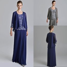 navy suit lining Canada - Hot Sale A Line Beach Sexy Mother Of The Bridal Long Sleeve Jacket Dresses Floor Length Chiffon Royal Blue Grey Appliques Lace Mother Gowns
