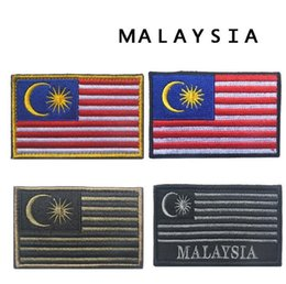 d687625a59a 2pcs Cloth Malaysia Flag Brassard Embroidery Tactical Patch Morale Armband  Hook And Loops Patches Army Combat Badge