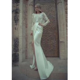 Filles Sexy En Robe Blanche Pas Cher-Robes de soirée Lace Top Backless Sexy High Slit Floor Longueur à manches longues Prom Dress Fitted White Mermaid Evening Party Dress