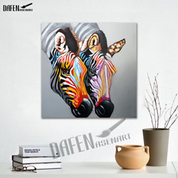 $enCountryForm.capitalKeyWord Canada - Happy Zebra 100% Handpainted Animal Oil Paintings Funny Cartoon Picture Paint on Canvas Modern Wall Art Home Decoration