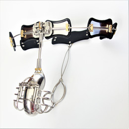 $enCountryForm.capitalKeyWord Canada - 2017 New Male Chastity Devices Adjustable Stainless Steel Curve Waist Chastity Belt with Full Closed Winding Cock Cage BDSM Sex Toy bondage