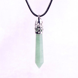 Chinese  Green Aventurine Jade Pillar Stone Necklace Natural Crystal Hexagonal Gemstone Amazonite Healing Point Prosperity Confidence Witch Necklace manufacturers