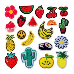 $enCountryForm.capitalKeyWord NZ - 20pcs set Fruit Cute Embroidered Patches Sewing Iron On Applique For Cloth Badge Motif