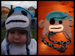 207d57dc82c Baby Girl Monkey Hats UK - Pirate Sock Monkey Crochet Knitted Hat Newborn  Infant Toddler Baby