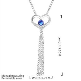 $enCountryForm.capitalKeyWord Canada - best gift Peach heart tassel blue women's sterling silver plate Necklace,fashion 925 silver pendant Necklace with chains GN667c