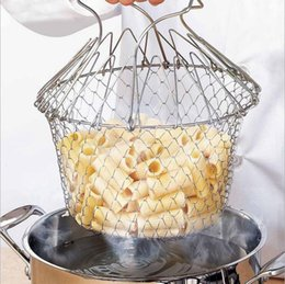 kitchen basket strainer Canada - Foldable Steam Rinse Strain Fry Chef Basket Strainer Net Kitchen Cooking Magic Chef Basket Strainer Net Kitchen Cooking Tool