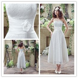 $enCountryForm.capitalKeyWord Canada - Ankle Length Lace Beach 2018 Wedding Dresses Handmade Flower Women Bridal Strapless Lace-up Catwalk Red carpet Dance Lady Bridesmaid