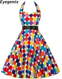 Elegante Vestido De Fiesta Colorido Baratos-Colorful Polka Dots Print Summer Dress Casual Halter Dress Women's New Fashion Elegant Evening Party Belted Vestido Swing Vestidos Tallas grandes