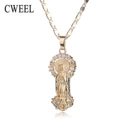 Jesus Cross Accessories NZ - Women Men Jesus Necklace Pendant For Wedding Trendy New Gold Color Jewelry Party Cross Long Beads Statement Accessories