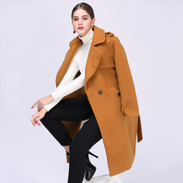 234e64384b7a 2017 Autumn Winter New Ladies Woolen Coats Long Slim Outerwears Fashion  Warm Blends Clothes For Women Camel Yellow And Army Green Color
