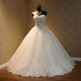 Wholesale Cheap Real Image A Line Wedding Dresses Sweetheart Lace Appliques Lace Up Beaded Princess Vintage Garden Country Wedding Bridal Gowns