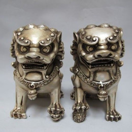 Statue lion online shopping - Chinese Tibet silver carved guard Foo Dogs Lion pair statues