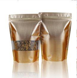 $enCountryForm.capitalKeyWord Canada - Reusable Stand up plating Aluminium foil Zip Lock bag - golden metallic foil plastic pouches zipper grip seal