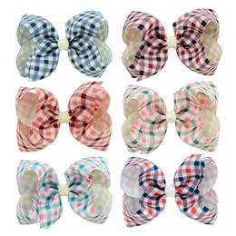 $enCountryForm.capitalKeyWord NZ - 4 inches High Quality Handmade Fashion Checkered Ribbon Hair Bow for Kids Hairclip Hair Accessories Headwear BM090