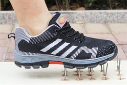 Ingrosso Air Mesh Men Boots Sicurezza sul lavoro Scarpe puntale in acciaio per anti-fracassante resistente alla puntura Resistente alle calzature protettive traspiranti