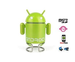 Mini Speaker Android Tablet UK - Wholesale- Mini Android Robot Music Speaker Support U-disk TF FM MP3 Player for Cellphones Tablet PC Mini Speaker