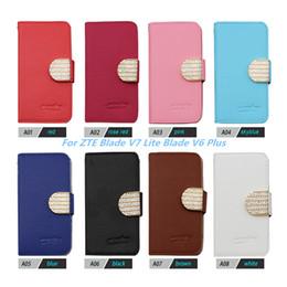 Pink Blades Canada - Wallet Flip Diamond Case Bling Crystal PU Leather Card Slot For ZTE Grand X4 Z956 For ZTE Blade V7 Lite Blade V6 Plus