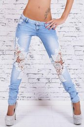 Silk Hole Canada - Brand new Light-colored lace stitching jeans hot bursts of small feet cowboy long pants JW010 Women's Jeans