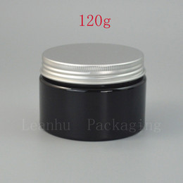 pack empty glass bottles 2018 - Black Plastic Cream Bottle With Silver Aluminum Screw Cap,120CC Empty Homemade Solid Perfume,Mask Packing Cosmetics Cont