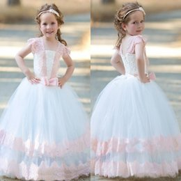 Robes Blanches À Manches Longues Pas Cher-Lovely Pink White Tulle Flower Girl Dresses 2017 Cap Sleeves Appliques en dentelle Long Kids Formal Wears avec fauteuils de style Girls Robes de Noël
