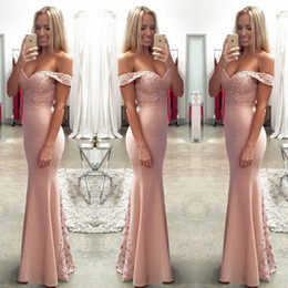 $enCountryForm.capitalKeyWord Australia - Elegant Off The Shoulder Lace And Satin Bridesmaid Dresses For Wedding Blush Pink Mermaid Prom Party Gowns Floor Length Women Formal Wear