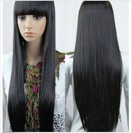 ePacket free shipping Black Women s Flat Bangs Wig Hair Long Anime Cosplay  Wigs Straight Full Wigs 5de0296af8