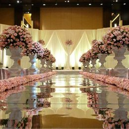 Chinese  10m Per lot 1 m Wide Shine Silver Mirror Carpet Aisle Runner For Romantic Wedding Favors Party Decoration Free Shipping manufacturers