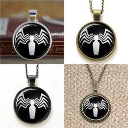 Spiderman necklaceS online shopping - 10pcs Venom Spiderman pendant Glass Photo Necklace keyring bookmark cufflink earring bracelet