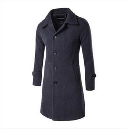 Manteau De Pois Britannique Pas Cher-Vente en gros - New Autumn Winter Men's Fashion Casual Single Breasted Long Trench Coat Jacket Pea Coat Overcoat British Style