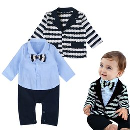 $enCountryForm.capitalKeyWord NZ - spring baby boy clothing sets boy gentlemen infant baby clothes suits bow toddler boy shirts rompers striped baby boys suit coat