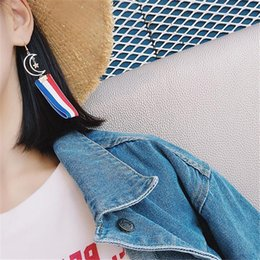 Harajuku Charms Canada - Harajuku Colorful Stripe Ribbon Gold Plated Moon Long Pendant Hook Earrings For Women Fashion Charm Jewelry Dangle Earrings DH94