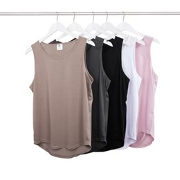 Barato Tops Rosa Para Homens-Atacado- Homens hip hop tank top colete kanye west estilo rosa singlet homens street workout fitness oversized tank tops swag clothing