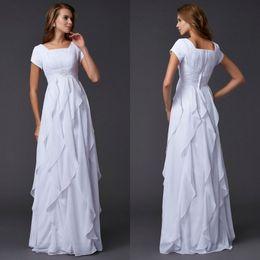 $enCountryForm.capitalKeyWord Australia - New Arrival A Line Beach White Chiffon Square Wedding Dresses With Short Sleeve Floor Length Chiffon Beaded Pleated Garden Wedding Gowns