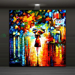 $enCountryForm.capitalKeyWord Canada - Framed Genuine Hand Painted Modern Abstract Wall Painting Umbrella Girl in the Rain Home Decorative Art oil Painting Canvas Multi Size Ab083