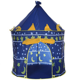 Boy Toy House UK - 2 Colors Portable Foldable Play Tent Prince Folding Tent Kids Children Boy Castle Cubby Play House Kids Gifts Outdoor Toy Tents