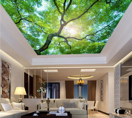 mediterranean ceilings Canada - 3d ceiling wallpaper for bedroom walls custom 3d wallpaper for ceilings Green towering old trees 3d ceiling wallpapers for living room